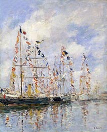 Yacht Basin at Trouville-Deauville, c.1895/96 by Eugene Boudin | Painting Reproduction