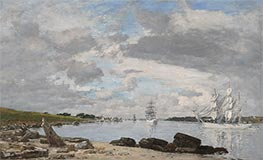 The Bay at the Mouth of the River Elorn, Landerneau, 1871 by Eugene Boudin   Painting Reproduction