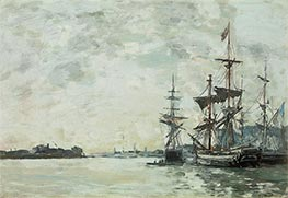 Le Havre, Anchored Vessels in the Harbor, c.1868/72 by Eugene Boudin | Painting Reproduction