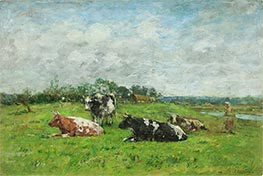 Pasture in Normandy, 1880s by Eugene Boudin | Painting Reproduction