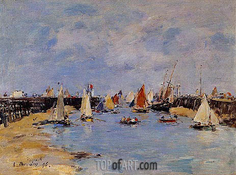Trouville, the Jettys, Low Tide, 1896 | Eugene Boudin | Painting Reproduction