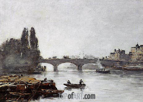 Rouen, the Pont Corneille, Fog Effect, 1896 | Eugene Boudin | Painting Reproduction