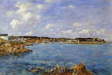 Douarnenez, the Bay, View of l'Ile Tristan, 1897 | Eugene Boudin | Gemälde Reproduktion