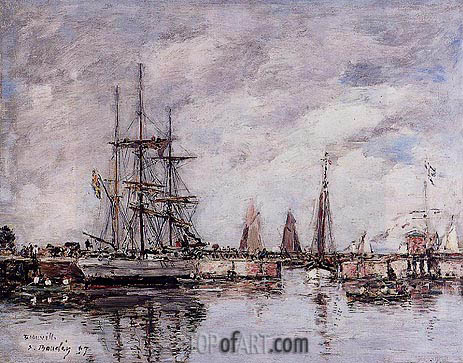 Deauville, Norwegian Three-Master Leaving Port, 1897 | Eugene Boudin | Gemälde Reproduktion