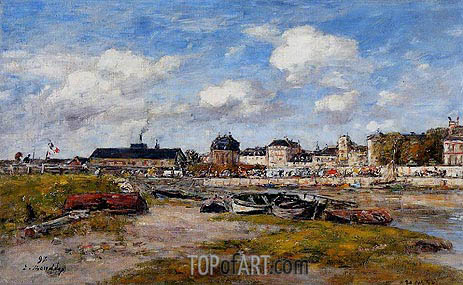 The Port of Trouville, Low Tide, 1897 | Eugene Boudin | Gemälde Reproduktion