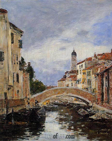 Small Canal in Venice, 1895 | Eugene Boudin | Painting Reproduction