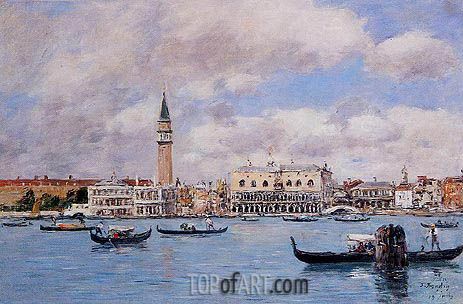 Venice - The Campanile, the Ducal Palace, 1895 | Eugene Boudin | Painting Reproduction