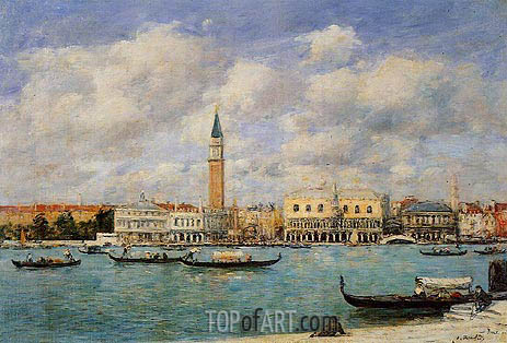Venice, The Campanile, View of Canal San Marco, 1895 | Eugene Boudin | Gemälde Reproduktion