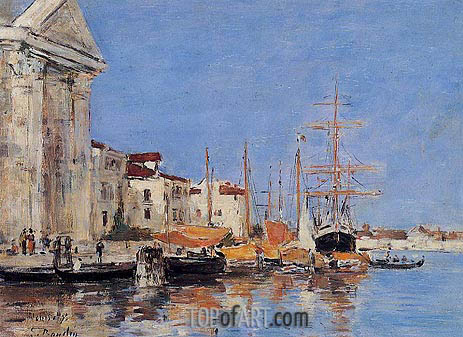 Venice, the Customs House, 1895 | Eugene Boudin | Gemälde Reproduktion