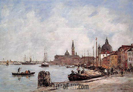 Venice, The Dock of the Guidecca, 1895 | Eugene Boudin | Painting Reproduction