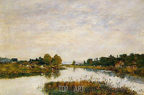 The Still River at Deauville, 1895 | Eugene Boudin | Gemälde Reproduktion