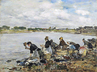 Laundresses on the Banks of the Touques, 1895 | Eugene Boudin | Gemälde Reproduktion