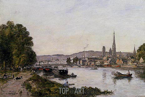 Rouen, View over the River Seine, 1895 | Eugene Boudin | Painting Reproduction