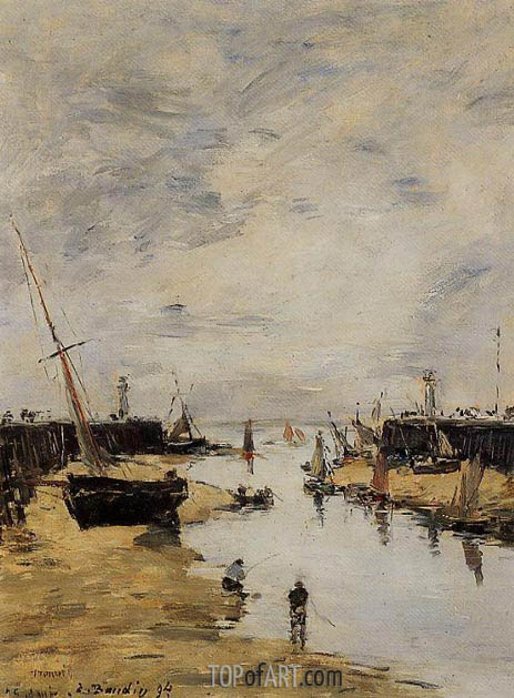 Trouville, the Jettys, Low Tide, 1894 | Eugene Boudin | Gemälde Reproduktion