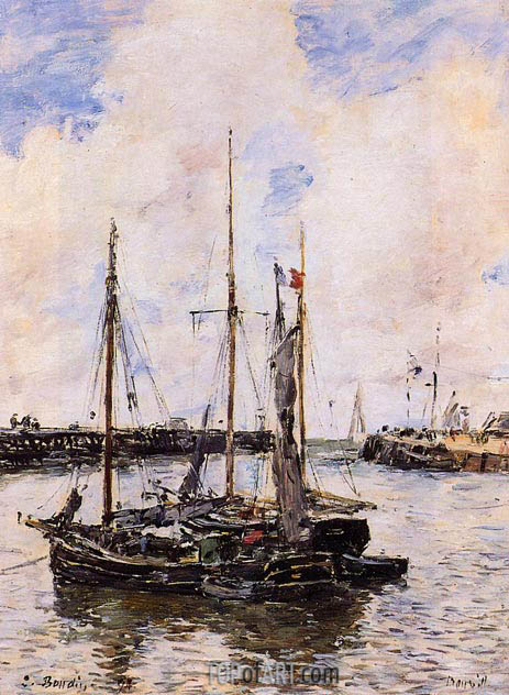 Entrance to the Port of Trouville, 1894 | Eugene Boudin | Gemälde Reproduktion