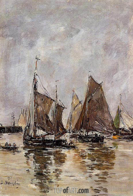Trouville, Sardine Boats Getting Under Way, 1894   Eugene Boudin   Painting Reproduction