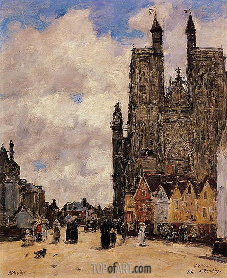 Abbeville, Street and the Church of Saint-Volfran, 1884 | Eugene Boudin | Painting Reproduction