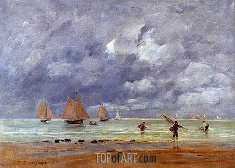 Fishermen and Sailboats near Trouville, 1892 | Eugene Boudin | Painting Reproduction