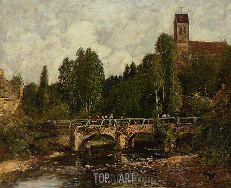 Saint-Cenery, the Church and the Bridge, 1892 | Eugene Boudin | Painting Reproduction