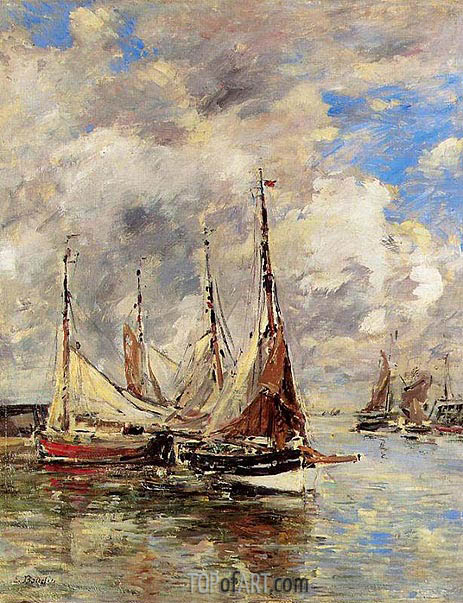 Trouville, the Piers, High Tide, c.1892/96   Eugene Boudin   Painting Reproduction