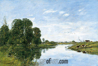 The River Touques at Saint-Arnoult, 1895 | Eugene Boudin | Gemälde Reproduktion