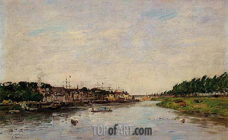 Entrance to the Port of Saint-Valery-sur-Somme, 1891 | Eugene Boudin | Painting Reproduction