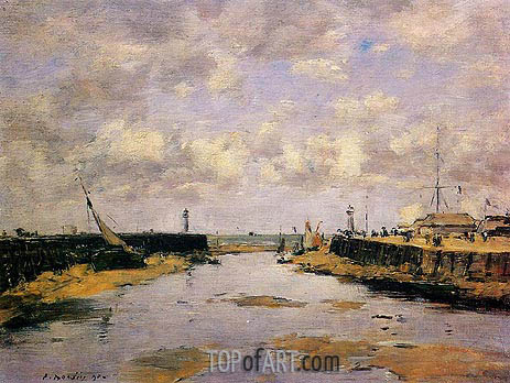 Trouville, the Jettys, Low Tide, 1890 | Eugene Boudin | Painting Reproduction