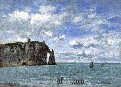 Etretat, The Cliff of Aval, 1890 | Eugene Boudin | Painting Reproduction