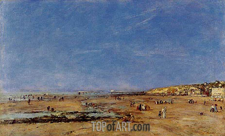 Trouville, Panorama of the Beach, 1890 | Eugene Boudin | Gemälde Reproduktion