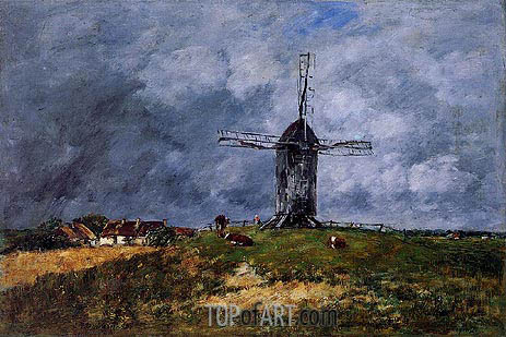 Cayeux. Windmill in the Countryside, Morning, 1890 | Eugene Boudin | Gemälde Reproduktion
