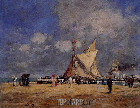 Deauville, on the Jetty, 1889 | Eugene Boudin | Gemälde Reproduktion