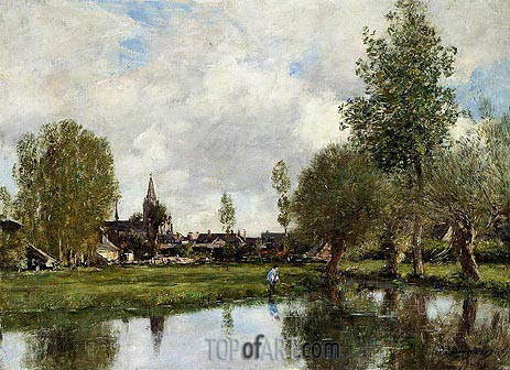 Village around Dunkirk, 1889 | Eugene Boudin | Gemälde Reproduktion