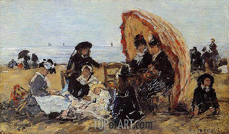 Trouville, on the Beach Sheltered by a Parasol, 1885 | Eugene Boudin | Painting Reproduction