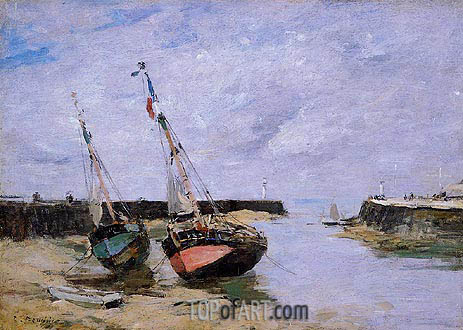 Trouville, the Jettys, Low Tide, c.1885/90 | Eugene Boudin | Gemälde Reproduktion