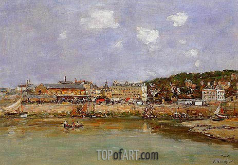 The Port of Trouville, the Market Place, 1884 | Eugene Boudin | Gemälde Reproduktion