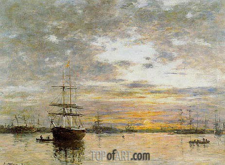 The Port of Le Havre at Sunset, 1882 | Eugene Boudin | Gemälde Reproduktion