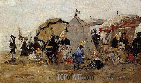 Women and Children on the Beach at Trouville, 1880 | Eugene Boudin | Gemälde Reproduktion