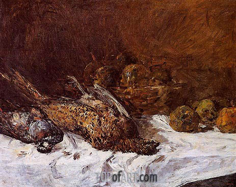 Still Life with Pheasants and a Basket of Apples, c.1880/85 | Eugene Boudin | Gemälde Reproduktion