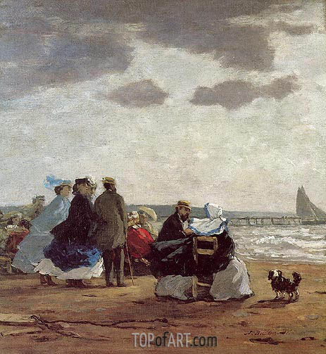 On the Beach, Dieppe, 1864   Eugene Boudin   Painting Reproduction