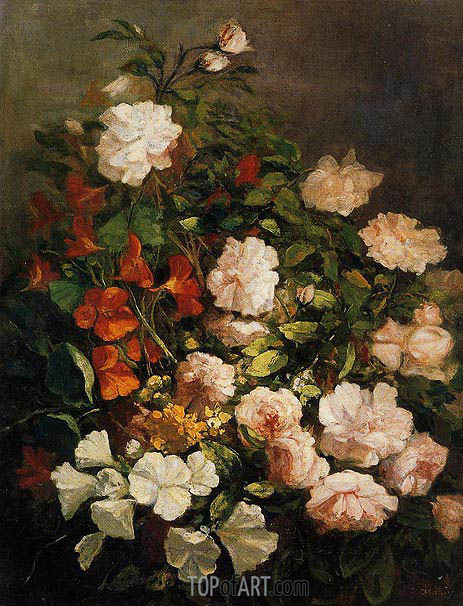 Spray of Flowers, 1858 | Eugene Boudin | Painting Reproduction