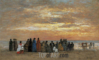 Figures on the Beach in Trouville, 1869 | Eugene Boudin | Painting Reproduction