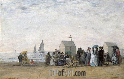 The Beach at Trouville, 1867 | Eugene Boudin | Painting Reproduction