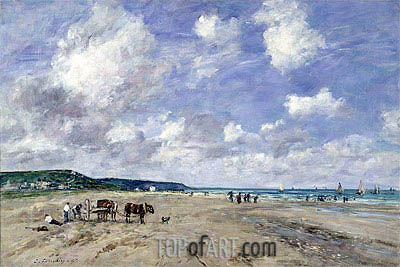 The Beach at Tourgeville, 1893 | Eugene Boudin | Painting Reproduction