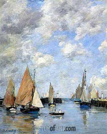 The Jetty at High Tide, Trouville, Undated | Eugene Boudin | Painting Reproduction