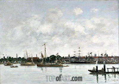 The Meuse at Dordrecht, 1874 | Eugene Boudin | Painting Reproduction