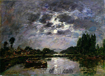 The Effect of the Moon, 1891 | Eugene Boudin | Gemälde Reproduktion