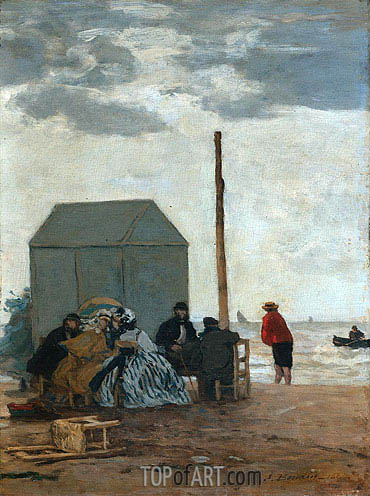 The Beach at Deauville, 1864 | Eugene Boudin | Gemälde Reproduktion
