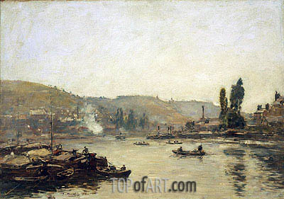 The Seine at Rouen, 1895 | Eugene Boudin | Painting Reproduction