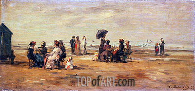 The Beach at Trouville, 1879 | Eugene Boudin | Gemälde Reproduktion