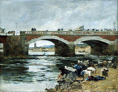 Washerwomen near a Bridge, 1883 | Eugene Boudin | Gemälde Reproduktion